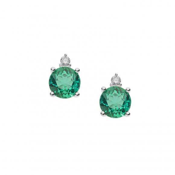 Orecchini Comete in oro bianco con diamanti e smeraldi