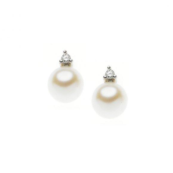 Orecchini Comete in oro bianco con perla e diamanti