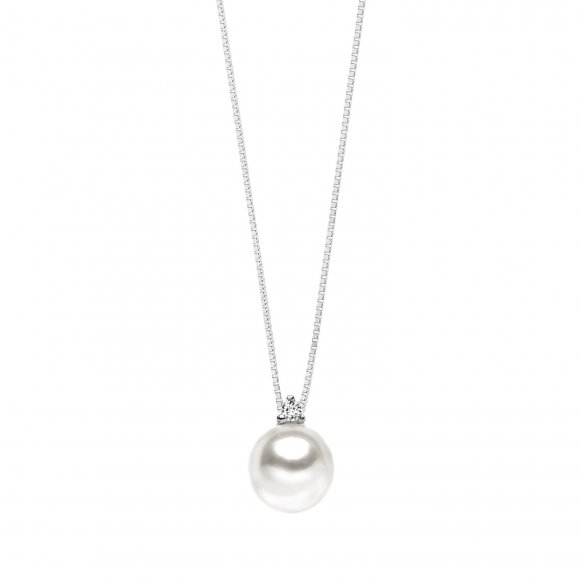 Collana Comete in oro bianco con ciondolo con perla e diamanti