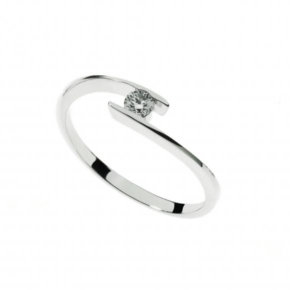 Anello Comete in oro bianco con diamante bianco