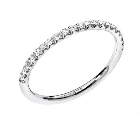 Anello Comete  veretta in oro bianco con diamanti