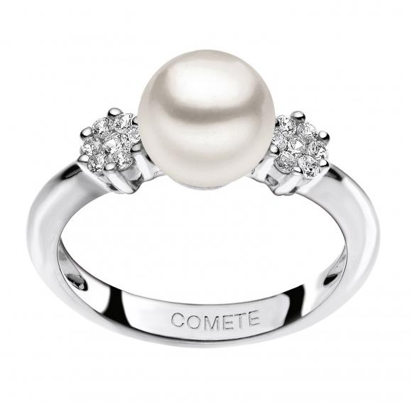 Anello Comete in oro bianco con diamanti e perla
