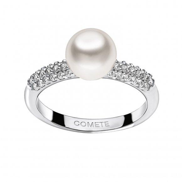 Anello Comete in oro bianco con diamanti e perla bianca