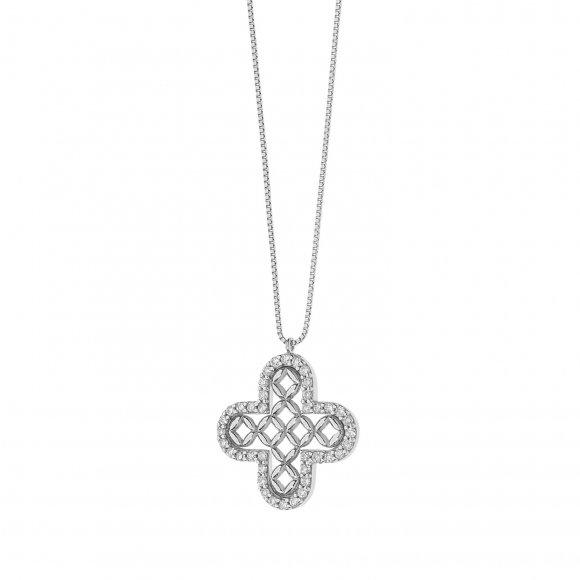 Collana Comete in oro bianco con pendente a forma di croce con diamanti
