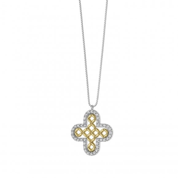 Collana Comete in oro bianco con pendente croce con diamanti