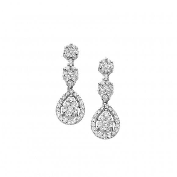Orecchini Comete in oro bianco con pendente con diamanti