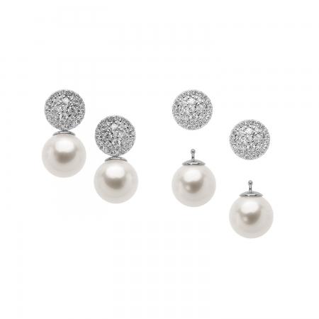 Orecchini Comete in oro bianco con perle e diamanti