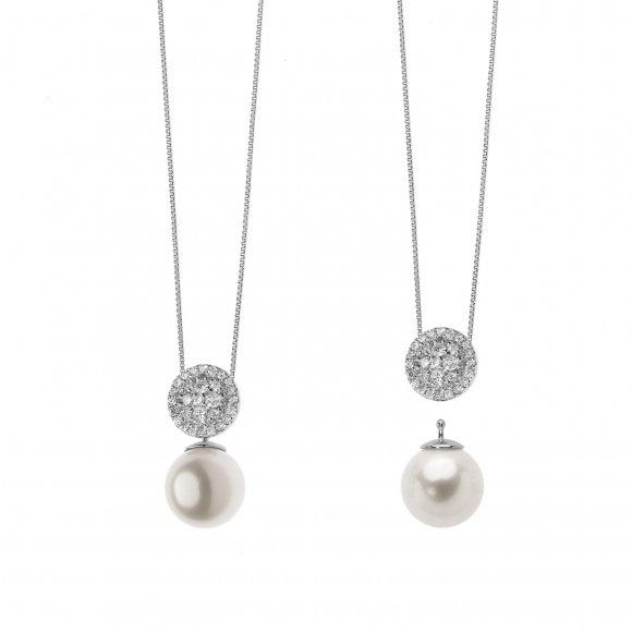 Collana Comete in oro bianco con pendente a doppio utilizzo