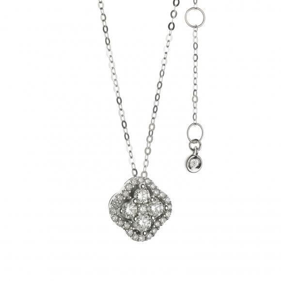 Collana Comete in oro bianco con ciondolo di diamanti