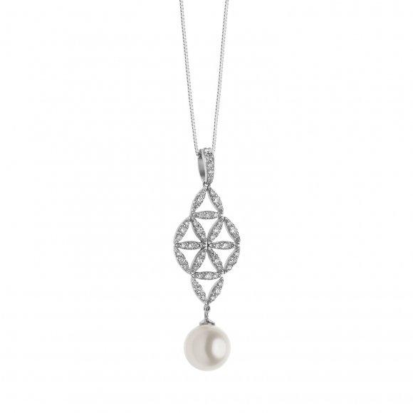 Collana Comete in oro bianco con pendente con diamanti e perla