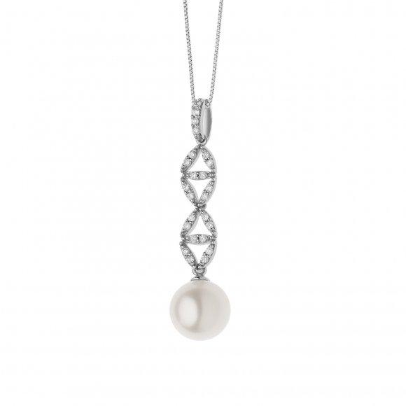 Collana Comete in oro bianco con perla e diamanti bianchi