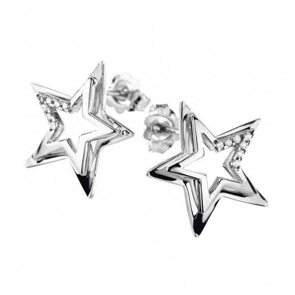 Orecchini Comete in oro bianco a forma di stella con diamanti