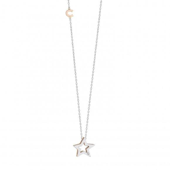 Collana Comete in oro bianco con ciondolo a forma di stella
