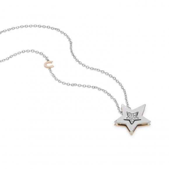 Collana Comete in oro bianco con ciondolo stella con diamanti