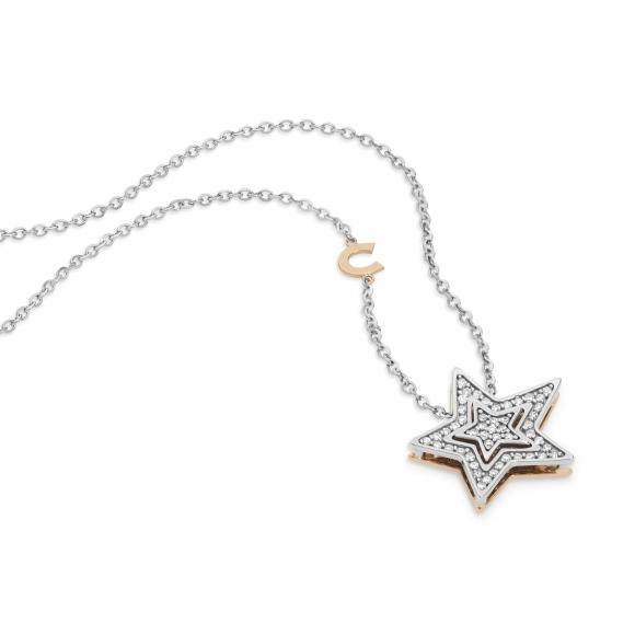 Collana Comete in oro bianco con ciondolo a stella con diamanti