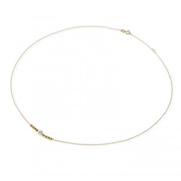 Collana Ambrosia in oro giallo con perla bianca e micro sfere sfaccettate