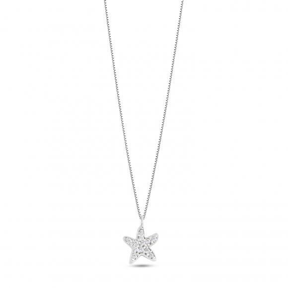Collana Ambrosia in oro bianco con ciondolo stella marina