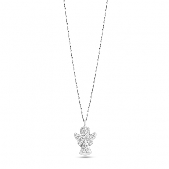 Collana Ambrosia in oro bianco con ciondolo angelo