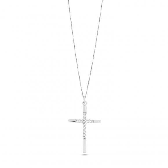 Collana Ambrosia in oro bianco con ciondolo croce con zirconi