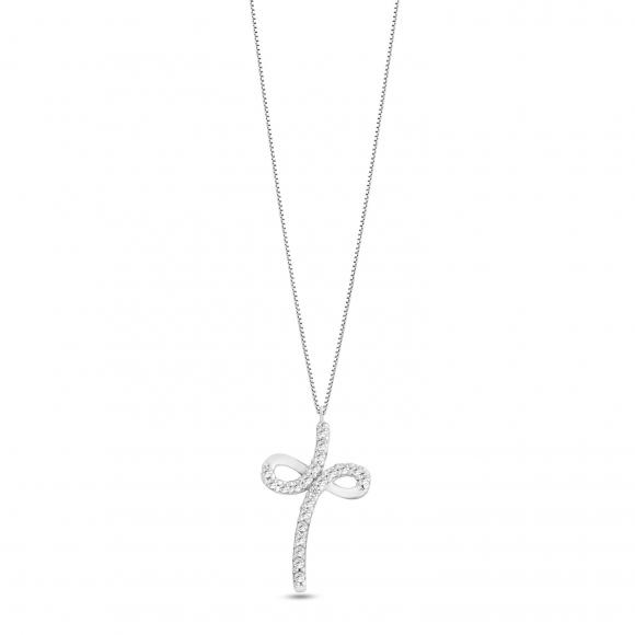 Collana Ambrosia in oro bianco con ciondolo croce con infinito
