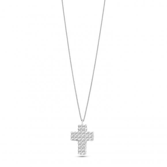 Collana Ambrosia in oro bianco con croce con zirconi