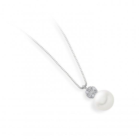 Collana Ambrosia in oro bianco con ciondolo con zirconi con perla