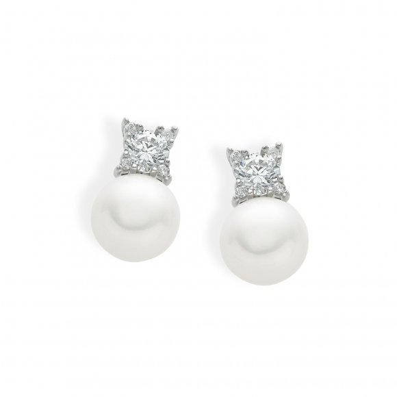 Orecchini Ambrosia in oro bianco con perla e zircone