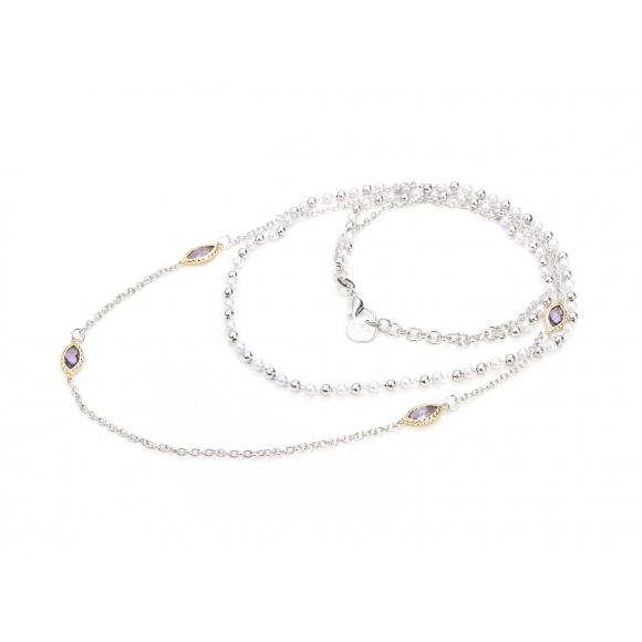 Collana Cesare Paciotti For Us con perle e pietre ovali viola