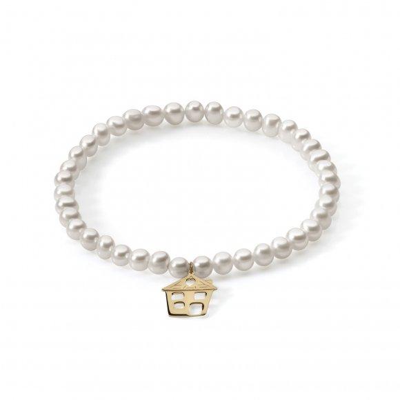 Bracciale Ambrosia di perle con ciondolo a forma di casetta in oro giallo