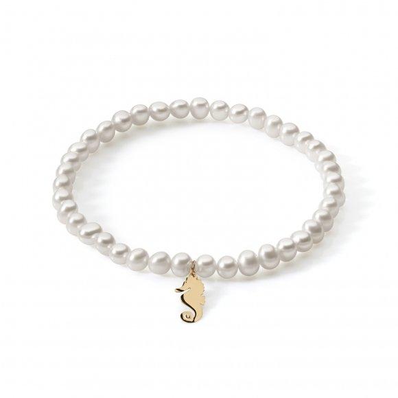 Bracciale Ambrosia di perle con ciondolo a forma di cavalluccio marino