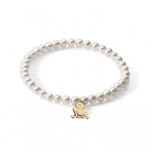 Bracciale Ambrosia di perle con ciondolo a forma di ranocchio