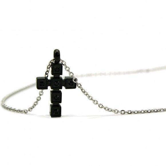 Collana Cesare Paciotti 4US a girocollo con croce nera a cubi