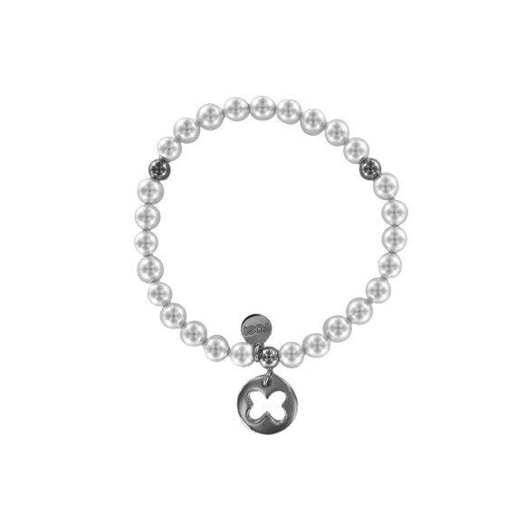 Bracciale Fogi elastico con perle e ciondolo farfalla