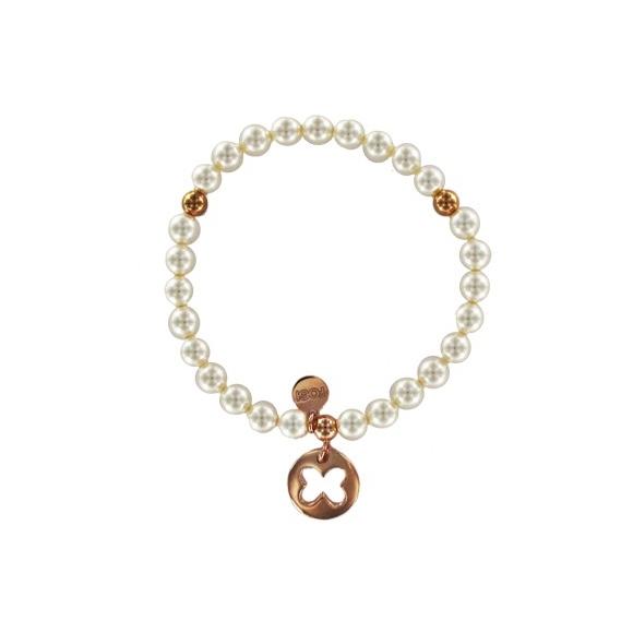 Bracciale Fogi elastico con perle e ciondolo farfalla rosato