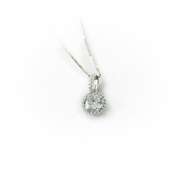 Collana Fogi girocollo in argento con punto luce composto