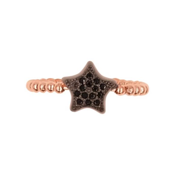 Anello Fogi in argento rosato a sfere con stella nera in zirconi