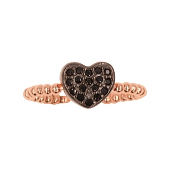Anello Fogi in argento rosato a sfere con cuore nero in zirconi