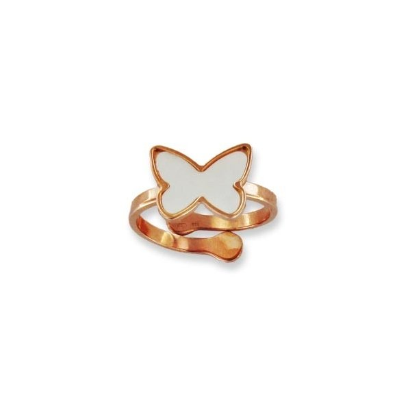 Anello Fogi regolabile in argento rosato con farfalla madreperla