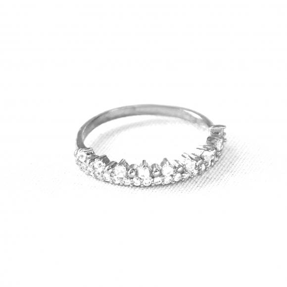 Anello Fogi in argento a corona con zirconi bianchi