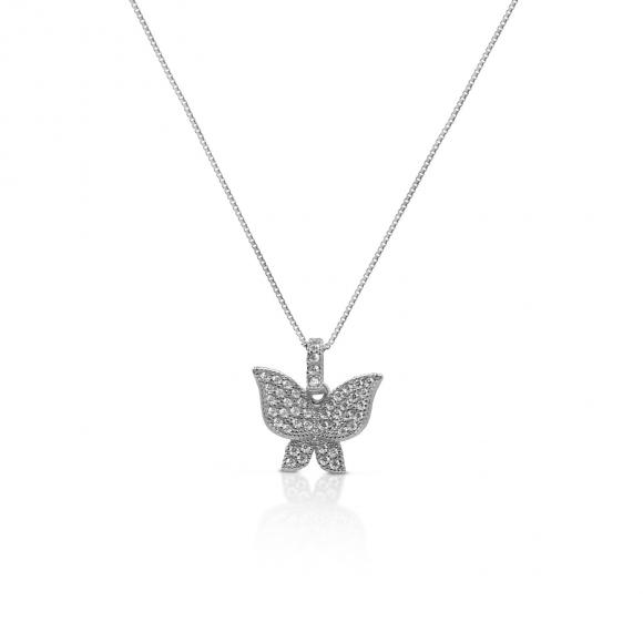 Collana Fogi in argento con farfalla in pavè di zirconi