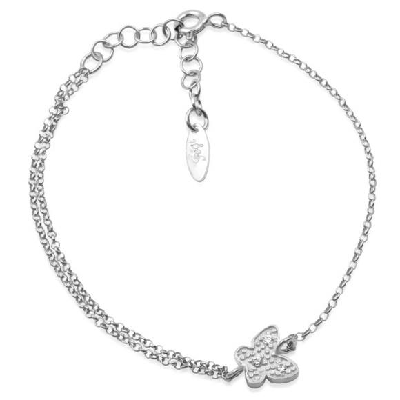 Bracciale Fogi in argento con farfalla centrale e zirconi