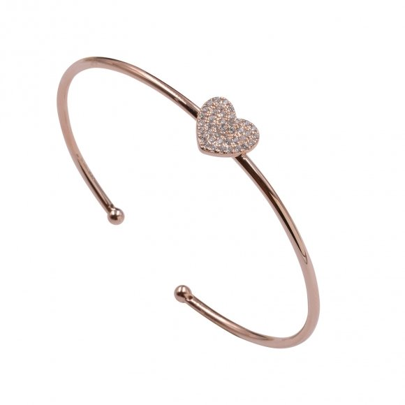 Bracciale Fogi rigido in argento rosato con cuore pavè