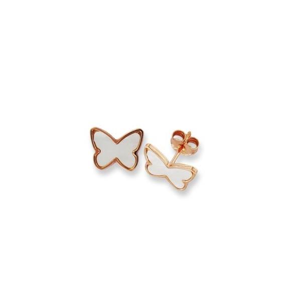 Orecchini Fogi in argento rosato a farfalla in madreperla