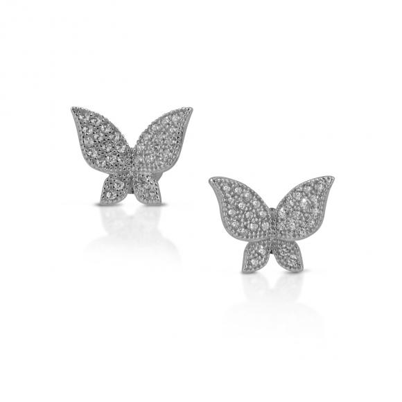 Orecchini Fogi in argento a farfalla pavè in zirconi