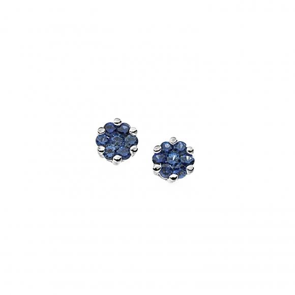 Orecchini Comete in oro bianco a forma di fiore con zaffiri blu
