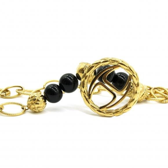 33d2629376 Collana Just Cavalli in acciaio colore oro con perle nere e medaglia rotonda