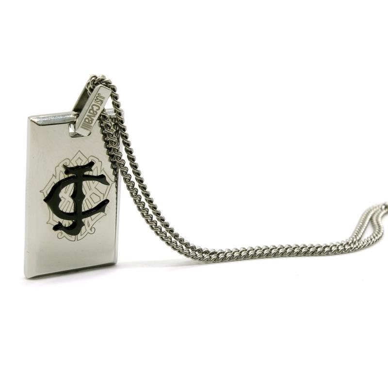 huge discount 1a193 c0929 Collana uomo Just Cavalli in acciaio con medaglia con marchio in rilievo