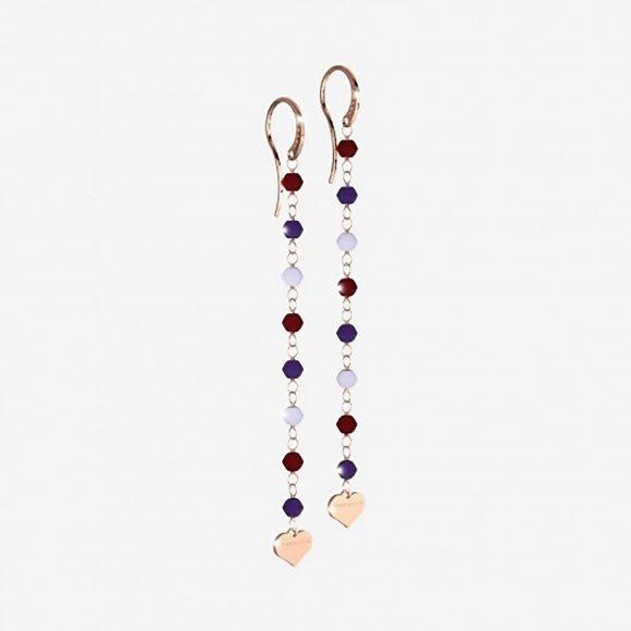 Orecchini Rebecca in argento rosè pendenti con pietre naturali e cuoricino