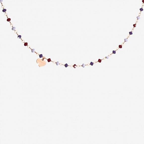Collana Rebecca in argento rosè a girocollo con pietre naturali sfaccettate e cuoricino pendente