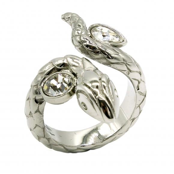 Anello Just Cavalli argentato a serpente con cristalli ovali